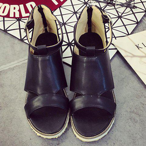 Sale Fashion Wedge Heel and PU Leather Design Sandals For Women - 38 BLACK Mobile