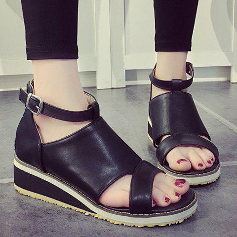 Cheap Fashion Wedge Heel and PU Leather Design Sandals For Women - 38 BLACK Mobile