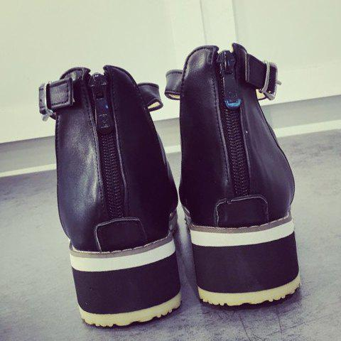 Hot Fashion Wedge Heel and PU Leather Design Sandals For Women - 37 BLACK Mobile