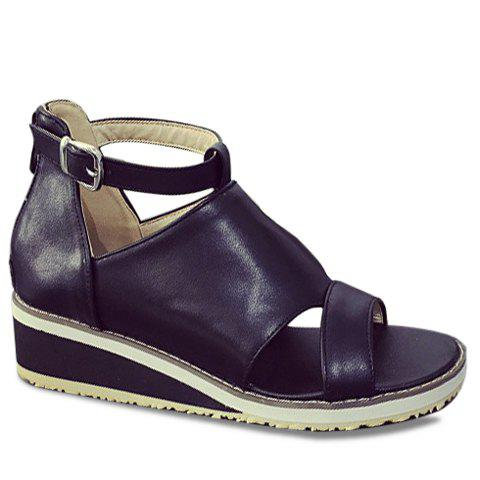 Sale Fashion Wedge Heel and PU Leather Design Sandals For Women - 39 BLACK Mobile