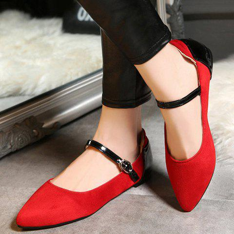 Discount Stylish Color Block and Suede Design Flat Shoes For Women - 39 RED Mobile