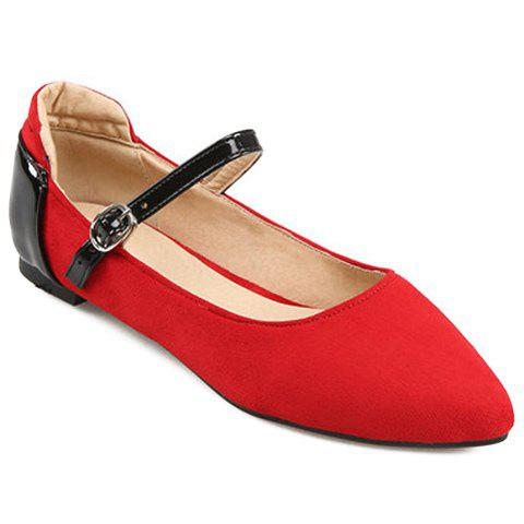 Hot Stylish Color Block and Suede Design Flat Shoes For Women RED 39