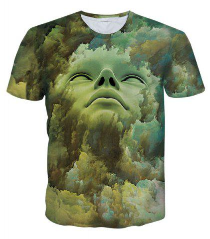 Shops Round Neck 3D Abstract Face Pattern Short Sleeve Men's T-Shirt