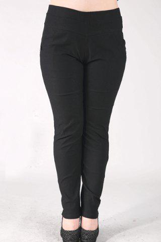Chic Fashionable High-Waisted Stretchy Plus Size Pants For Women BLACK 2XL