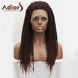 Adiors Dark Auburn Mixed Synthetic Fluffy Long Handmade Braided Lace Front Wig - COLORMIX