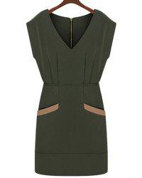 Stylish V-Neck Cap Sleeve Spliced Bodycon Dress For Women -