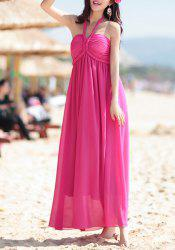 Bohemian Halter Sleeveless Solid Color Chiffon Dress For Women