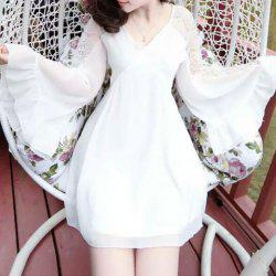 Flounce Flare Long Sleeve Chiffon Graduation Dress