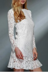 Ladylike Ruffled White Long Sleeve Lace Dress For Women