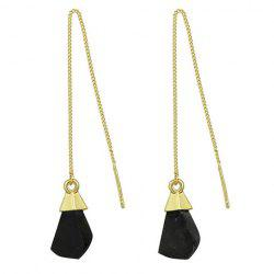 Pair of Vintage Faux Gem Geometric Drop Earrings - BLACK