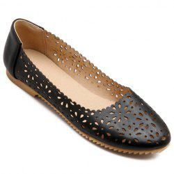 Casual Round Toe and Hollow Out Design Flat Shoes For Women - BLACK