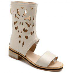 Chunky Heel Hollow Out Mid Calf Sandals