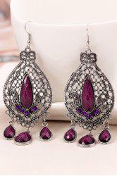 Pair of Vintage Bohemia Faux Crystal Water Drop Earrings -