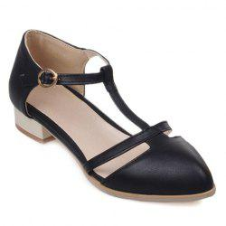 Sweet T-Strap and PU Leather Design Flat Shoes For Women - BLACK