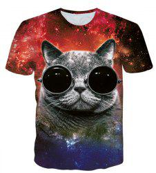 Round Neck 3D Cat Pattern Starry Sky Print Short Sleeve Men's T-Shirt - BLACK