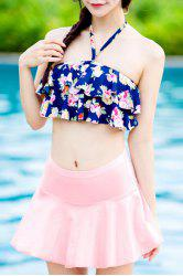 Flounce Floral Skirted Tankini Bathing Suit -