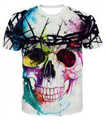 Colorful Splatter Paint Crew Neck 3D Skull Print T-shirt