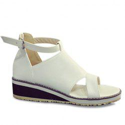 Fashion Wedge Heel and PU Leather Design Sandals For Women - WHITE