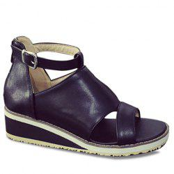 Fashion Wedge Heel and PU Leather Design Sandals For Women - BLACK