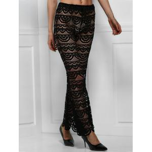 Sexy Lace See-Through Solid Color Pants For Women - BLACK M