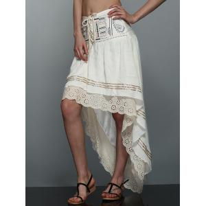 High-Low  Printed Asymmetric Skirt - Off-white - L