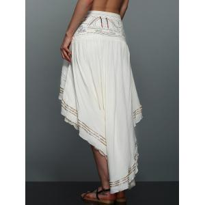 High-Low  Printed Asymmetric Skirt - OFF WHITE L