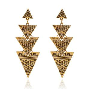 Retro Carving Stitching Triangle Drop Earrings