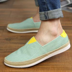 Simple Colour Block and Elastic Design Canvas Shoes For Men - LIGHT GREEN 44