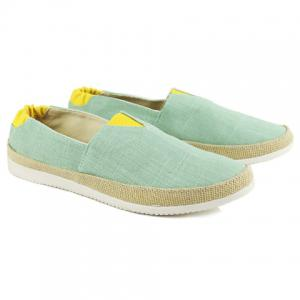 Color Block  Slip On Canvas Sneakers - Light Green - 43
