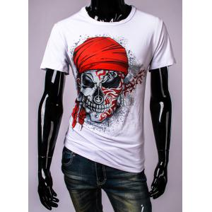 3D Pirate Skull Printed Round Neck Short Sleeve T-Shirt For Men