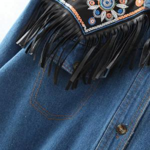 Stylish Turn-Down Collar Long Sleeve Fringed Denim Shirt For Women -