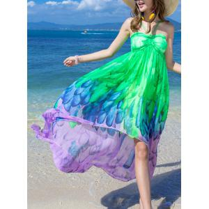 Casual Halter Ombre Printed Dress For Women -