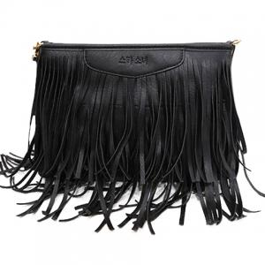 Stylish Metal and Fringe Design Crossbody Bag For Women - Black - 38