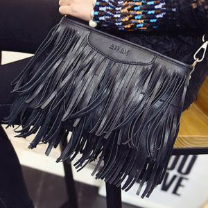 Stylish Metal and Fringe Design Crossbody Bag For Women - BLACK
