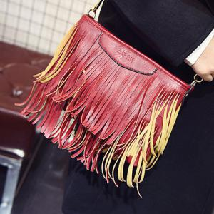 Stylish Metal and Fringe Design Crossbody Bag For Women - RED