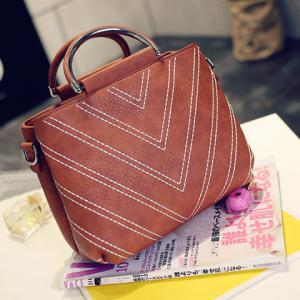 Stylish Stitching and PU Leather Design Tote Bag For Women -