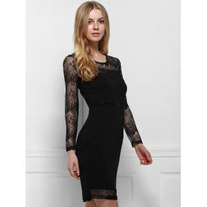 Chic Round Neck Long Sleeve Bodycon Women's Dress -