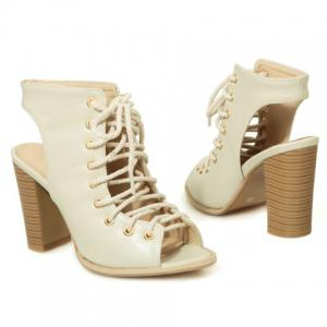 Slingback Lace Up Bootie Sandals - OFF WHITE 38