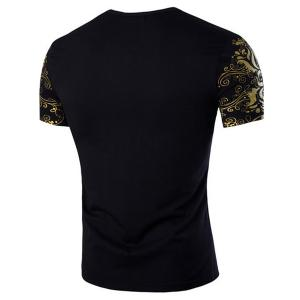 Slimming Letter Printed Round Collar Short Sleeves T-Shirt For Men -