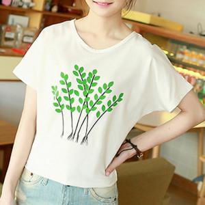 Brief Scoop Neck Tree Print Short Sleeve T-Shirt For Women -
