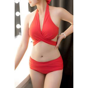 Sexy Halter Solid Color Push Up Three-Piece Swimwear For Women -