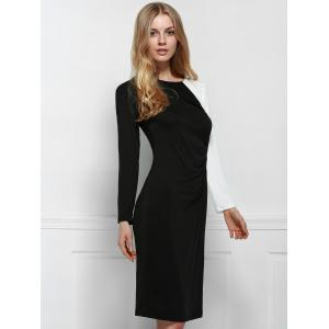 Elegant Scoop Neck Long Sleeve Black and White Spliced Plus Size Dress For Women -