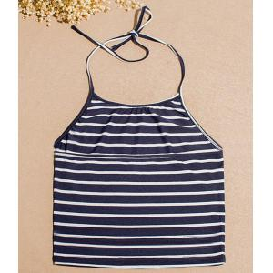 Stylish Halter Sleeveless Striped Slimming Tank Top For Women -