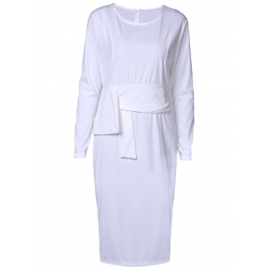 Chic Round Collar Long Sleeve Pure Color Bodycon Women's Dress - WHITE L