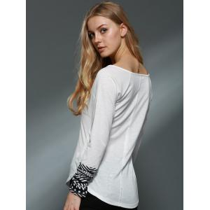 Trendy Scoop Collar Long Sleeve Slimming Printed Women's Knitwear - WHITE ONE SIZE(FIT SIZE XS TO M)