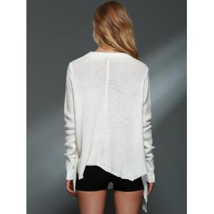 Simple Style Solid Color V-Neck Long Sleeve Asymmetric Cardigan For Women - OFF-WHITE XL