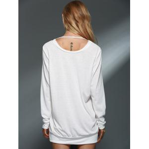 Chic Back Wing Printed Long Sleeve Pullover Sweatshirt For Women -