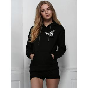 Stylish Hooded Long Sleeve Printed Letter Pattern Women's Hoodie - BLACK S