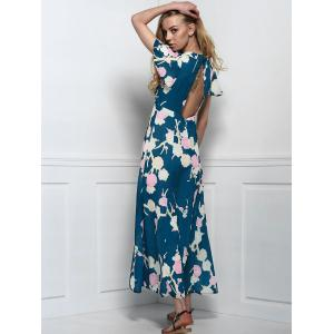 Maxi Floral Cut Out Swing Dress with Slit -