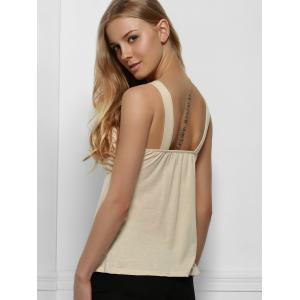 Elegant Gauze and Rhinestone Spliced Sleeveless T-Shirt For Women - NUDE M